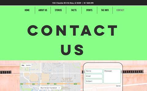 Screenshot of Contact Page shunthesunfoundation.org - Contact Us   Shun the Sun   Arizona - captured Nov. 15, 2017