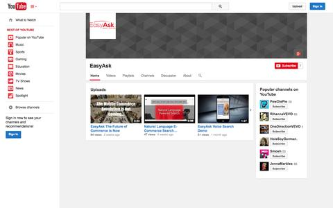 Screenshot of YouTube Page youtube.com - EasyAsk  - YouTube - captured Oct. 28, 2014