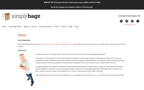 Screenshot of About Page simplybagz.com - Simply Bagz | White Paper Bags, Brown Paper Bags, Plastic Bags - captured March 17, 2016