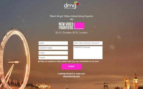 Screenshot of Landing Page traffiliate.com - Oct. 20-21, 2015 - dmg at NEW VIDEO FRONTIERS EVENT - captured Aug. 3, 2016