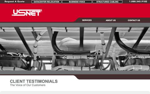 Screenshot of Testimonials Page usnet-1.com - USNet | Client Testimonials - captured Nov. 12, 2018