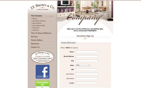 Screenshot of Signup Page jsbrowncompany.com - J.S. Brown & Co.: Newsletter Sign Up - captured Oct. 1, 2014