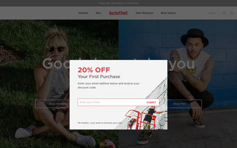 Screenshot of Home Page bucketfeet.com - Bucketfeet | The World's Most Unique Shoes– Bucketfeet - captured Aug. 19, 2018
