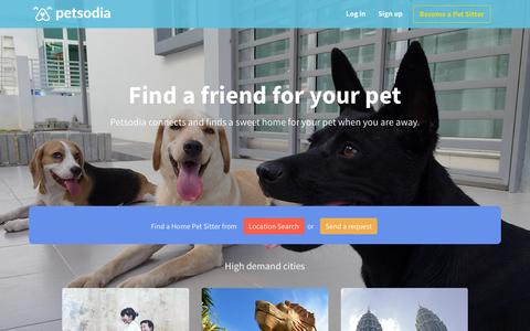 Screenshot of Home Page petsodia.com - Petsodia - Sharing Love thru Pet Sitting. - captured Jan. 27, 2016