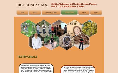Screenshot of Testimonials Page risaolinsky.com - Risa Olinsky, Health & Wellness Coaching, Fitness, Speaking | TESTIMONIALS - captured Dec. 9, 2016