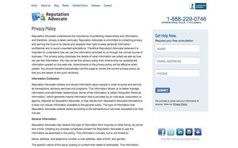 Screenshot of Privacy Page reputationadvocate.com - Reputation Advocate - Privacy Policy - captured Nov. 5, 2014