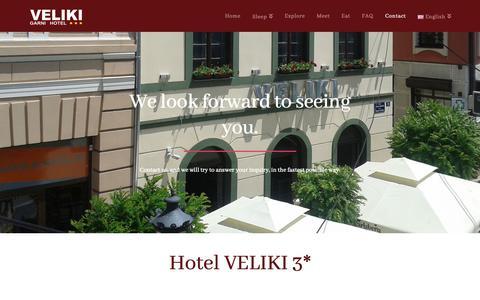 Screenshot of Contact Page hotelvelikinovisad.com - Contact - Hotel Veliki Novi Sad 3* - captured Nov. 20, 2018