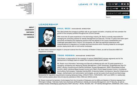 Screenshot of Team Page idmworks.com - Leadership - captured Sept. 30, 2014