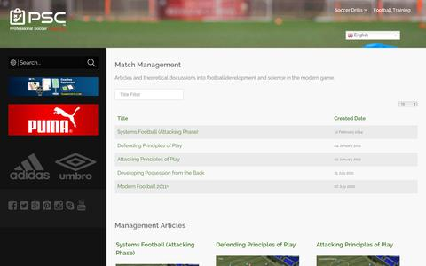 Screenshot of Team Page professionalsoccercoaching.com - Match Management - Professional Soccer Coaching - captured Nov. 11, 2018