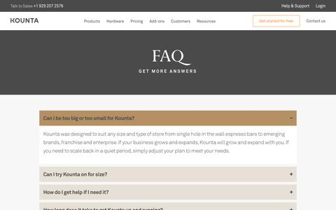 Screenshot of FAQ Page kounta.com - FAQ | Frequently Asked Questions by Kounta Users - captured Nov. 11, 2019