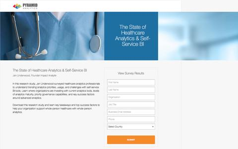 Screenshot of Landing Page pyramidanalytics.com - The State of Healthcare Analytics & Self-Service BI - captured April 25, 2017
