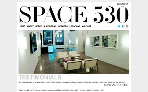 Screenshot of Testimonials Page space530.com - Testimonials | SPACE 530 - captured Oct. 9, 2014