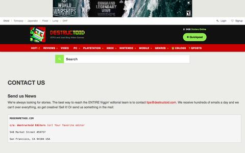 Screenshot of Contact Page destructoid.com - Video games, news, reviews, trailers, and gamer guides - captured Oct. 2, 2015