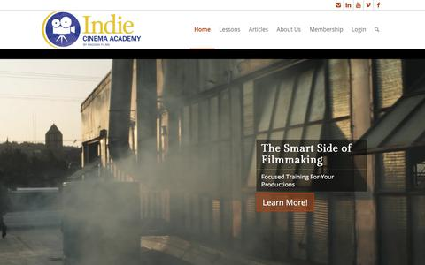 Screenshot of Home Page indiecinemaacademy.com - Indie Cinema Academy – Keeping You on the Smart Side of Filmmaking - captured Nov. 6, 2018