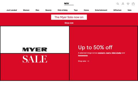 Screenshot of Home Page myer.com.au - MYER | Shop Fashion, Homewares, Beauty, Toys & More - captured Dec. 24, 2018