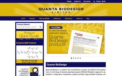 Screenshot of Home Page quantabiodesign.com - Quanta BioDesign, dPEG®, dPEG, discrete PEG - captured Oct. 2, 2014