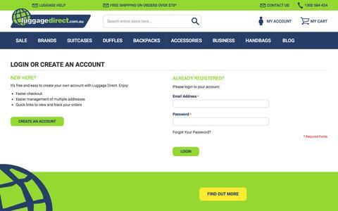 Screenshot of Login Page luggagedirect.com.au - Customer Login - captured July 19, 2016