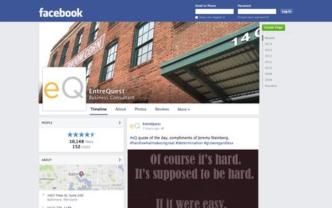 Screenshot of Facebook Page facebook.com - EntreQuest - Baltimore, Maryland - Business Consultant | Facebook - captured Oct. 23, 2014