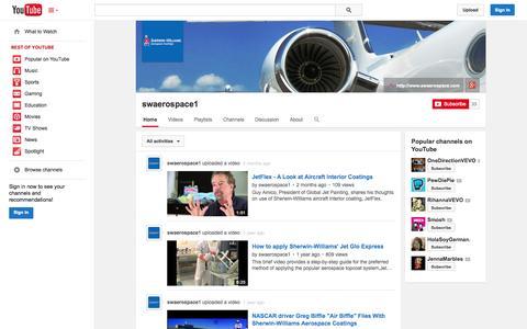 Screenshot of YouTube Page youtube.com - swaerospace1  - YouTube - captured Oct. 23, 2014