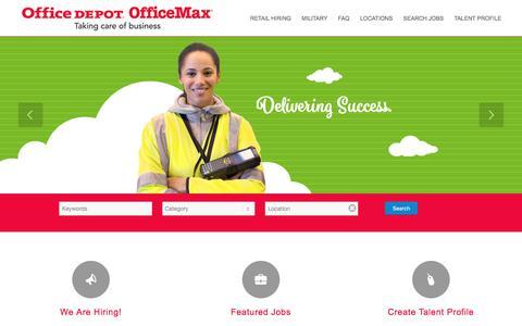 Screenshot of Jobs Page officedepot.com - jobs office depot home Office Depot - captured Aug. 4, 2017