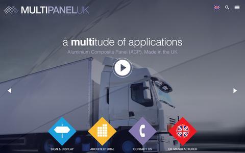 Screenshot of Home Page multipaneluk.co.uk - Aluminium Composite Panel ACP uses Advanced technology - Multipanel UK - captured Oct. 21, 2017