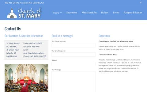 Screenshot of Contact Page Maps & Directions Page stmarylakeville.org - Contact Us – St Mary Lakeville - captured April 5, 2017