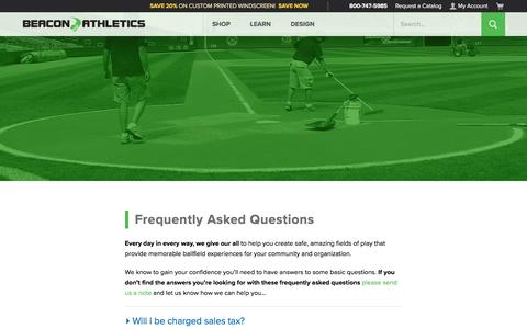Screenshot of FAQ Page beaconathletics.com - Frequently Asked Questions | Beacon Athletics - captured Jan. 18, 2020
