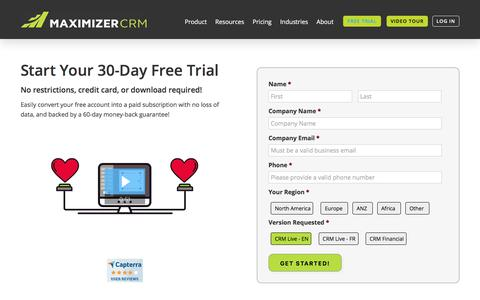 Screenshot of Trial Page maximizer.com - Start Your 30-Day Free Trial Today! - Maximizer CRM Software - captured July 17, 2019