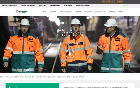 Screenshot of Jobs Page metso.com - Careers - Metso - captured Jan. 14, 2018