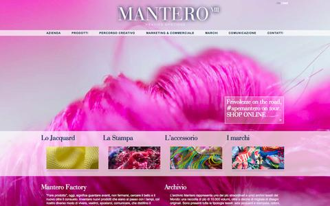 Screenshot of Home Page mantero.com - Home Page - Mantero Seta SpA - L'eccellenza tessile a Como - Italy - captured Oct. 4, 2014