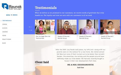 Screenshot of Testimonials Page raunakgroup.com - Client Testimonials & Reviews | Raunak Group - captured Dec. 19, 2019