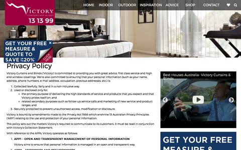 Screenshot of Privacy Page victory.com.au - Privacy Policy - Victory Curtains & Blinds - captured Oct. 26, 2017