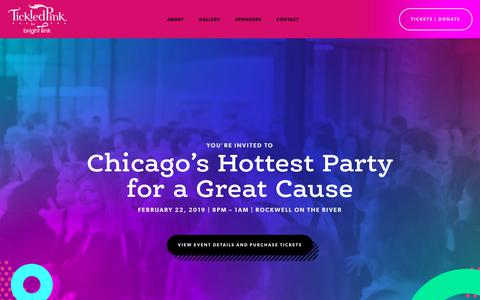 Screenshot of Home Page tickledpinkchicago.com - Tickled Pink for Bright Pink - February 22, 2019 at Rockwell on The River - captured Nov. 18, 2018