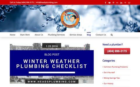 Screenshot of Blog headsplumbing.com - Plumbing Blog | Atlanta Plumber | Head's Plumbing Sales and Service, Inc. - captured Jan. 27, 2016