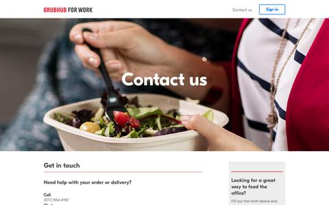 Screenshot of Contact Page grubhub.com - Contact us   Food Delivery by Grubhub for Work - captured May 11, 2017