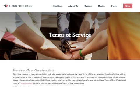 Screenshot of Terms Page mendingthesoul.org - Terms of Service - Mending the Soul - captured Nov. 6, 2018