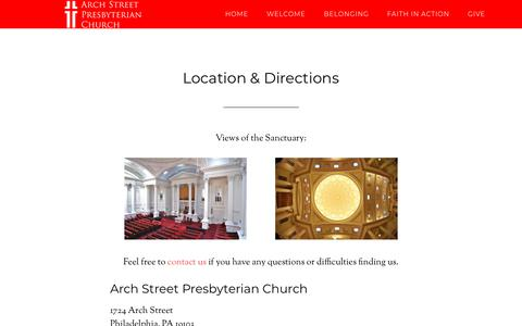 Screenshot of Maps & Directions Page archstreetpres.org - Location & Directions - Arch Street Presbyterian Church - captured July 2, 2018