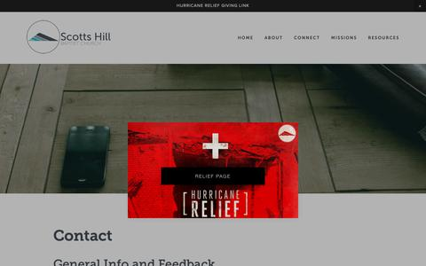 Screenshot of Contact Page scottshill.org - Contact — Scotts Hill Baptist Church - captured Oct. 18, 2018