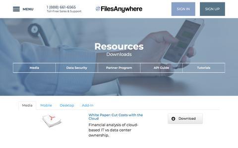 Screenshot of Press Page filesanywhere.com - Resources - FilesAnywhere - captured Sept. 23, 2018