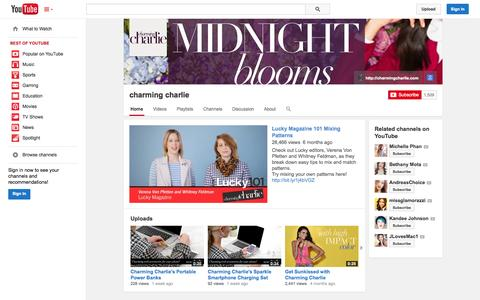 Screenshot of YouTube Page youtube.com - charming charlie  - YouTube - captured Oct. 22, 2014
