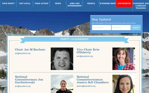 Screenshot of Team Page wyodems.org - Party Leadership   Wyoming Democrats - captured Feb. 18, 2018