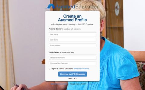 Screenshot of Signup Page ausmed.com.au - Set Up Your CPD Organiser | Ausmed - captured Oct. 4, 2014
