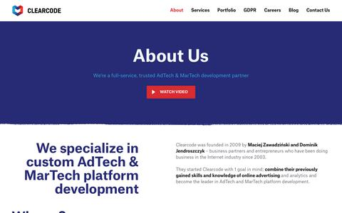 Screenshot of About Page clearcode.cc - About Clearcode - Trusted AdTech and MarTech Development Partner - captured July 3, 2019
