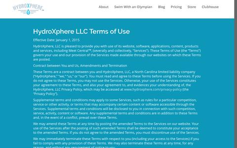 Screenshot of Terms Page hydroxphere.com - Terms of Use | HydroXphere - captured Nov. 15, 2016