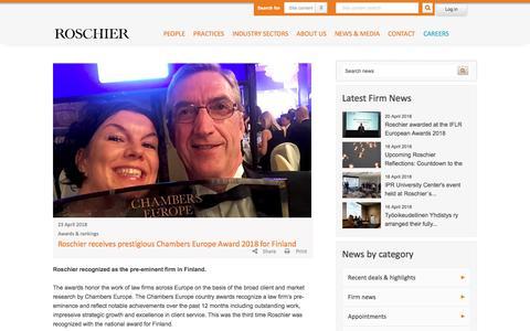 Screenshot of Press Page roschier.com - Roschier receives prestigious Chambers Europe Award 2018 for Finland   Roschier - captured April 24, 2018