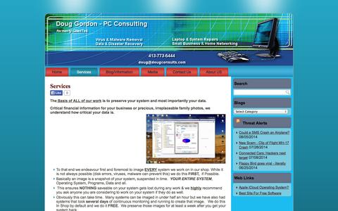 Screenshot of Services Page dougconsults.com - Services , Pricing, DiscountsDoug Gordon – PC Consulting & Computer Repair in Greenfield, MA. 01301 - captured Oct. 1, 2014