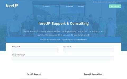 Screenshot of Support Page foreupgolf.com - Support - foreUP - captured June 17, 2019
