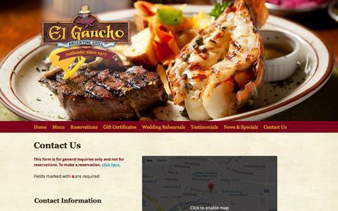 Screenshot of Contact Page elgaucho-aruba.com - Contact Us | El Gaucho Aruba - captured March 10, 2016