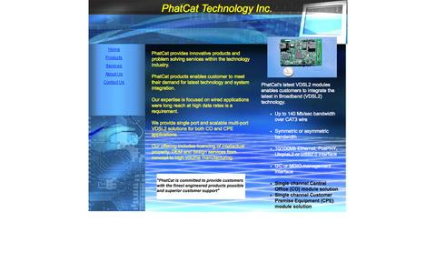 Screenshot of Home Page phatcattech.com - PhatCat Inc. VDSL2 broadband solutions - captured Oct. 2, 2014
