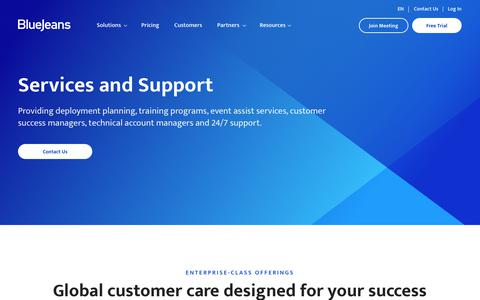 Screenshot of Services Page bluejeans.com - Services and Support | BlueJeans - captured Oct. 27, 2019